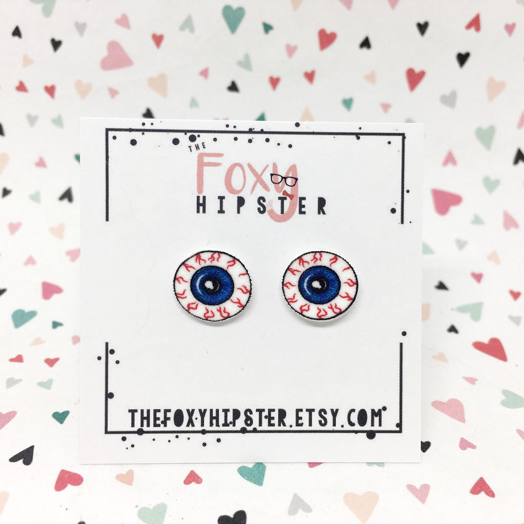 Bloodshot Eyeball Stud Earrings