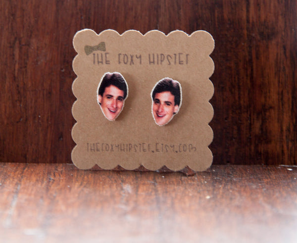 Danny Tanner Bob Saget Stud Earrings,  gift idea, cool jewelry, unique, funky, full house,