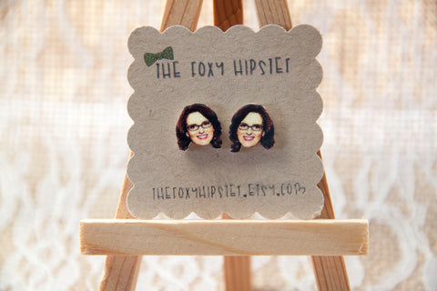 Tina Fey Stud Earrings,  gift idea, cool jewelry, unique, funky, Liz Lemon, 30 rock, funny ladies