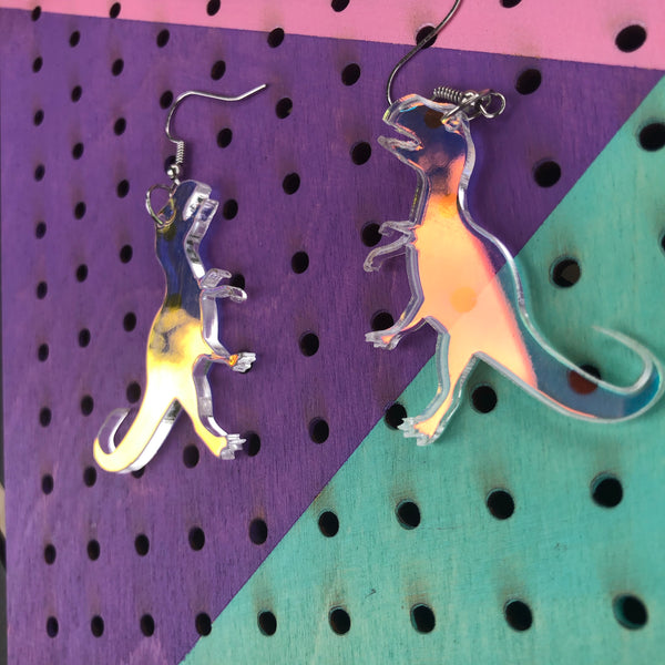 T Rex Dinosaur Iridescent Dangle Earrings
