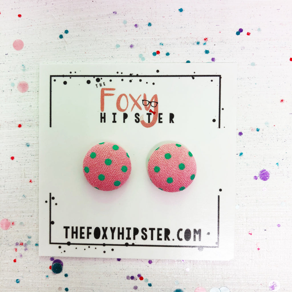 Light Pink with teal polka dots fabric button  Stud Earrings