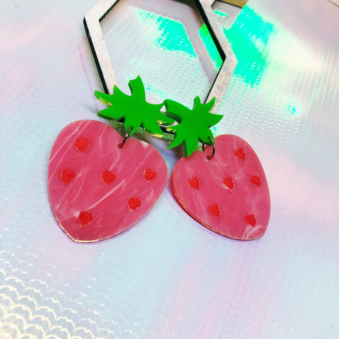 Pink Strawberry Heart Dangle Earrings