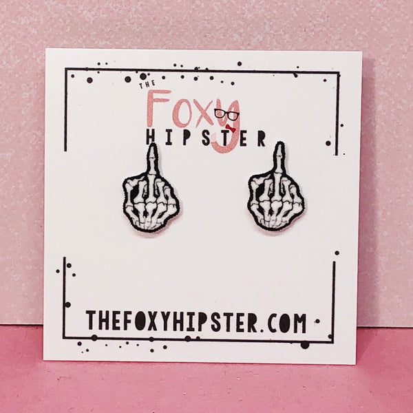 Skeleton Middle Finger Earrings