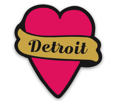 Detroit Tattoo Heart Vinyl Sticker