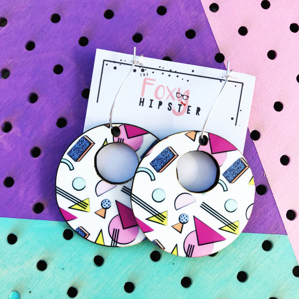 Nostalgic Memphis Pattern Dangle Hoop Earrings