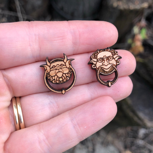 Wooden Labyrinth knockers Inspired Stud Earrings