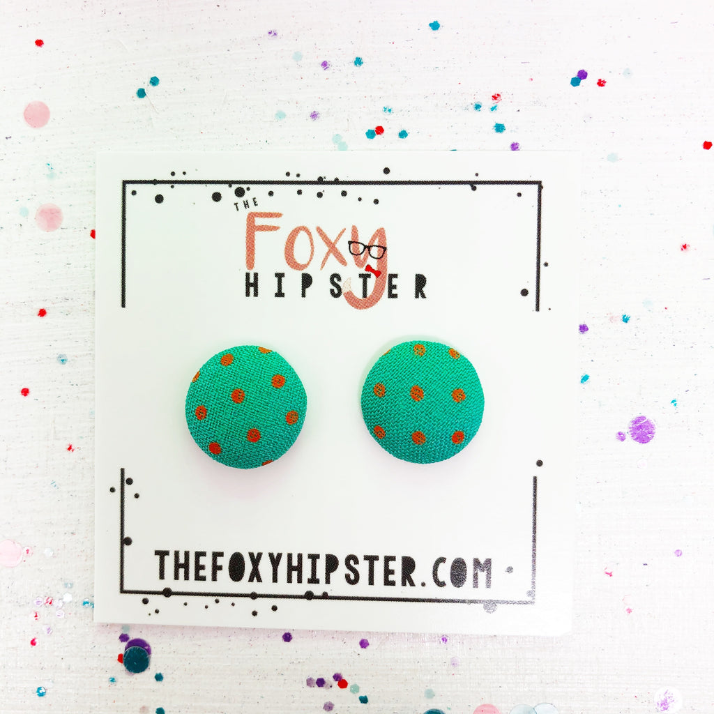Teal with pink polka dots fabric button  Stud Earrings