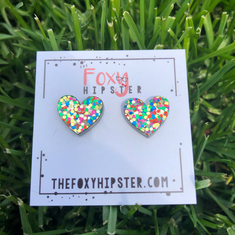 Chunky Glitter Heart Stud Earrings