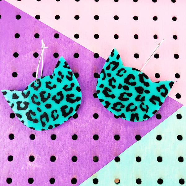 Teal Cat Cheetah Print Dangle Hoop Earrings