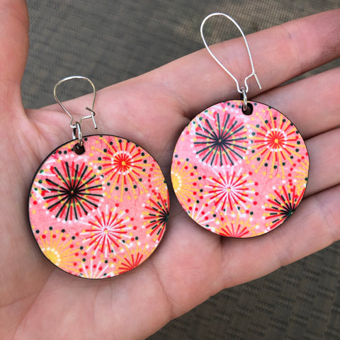 Letting Off the Happiness Bright Eyes Pattern Dangle Hoop Earrings