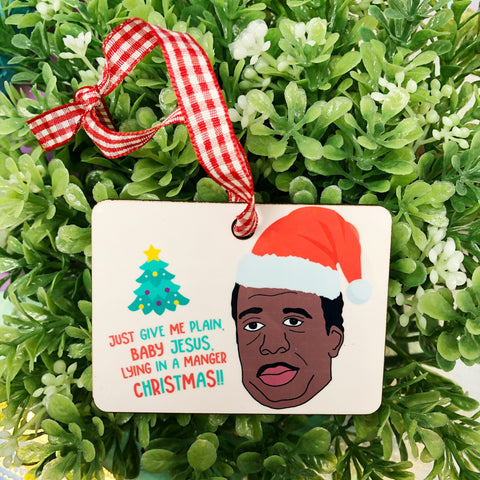 Stanley Hudson The Office Baby Lying in a Manger Christmas Ornament