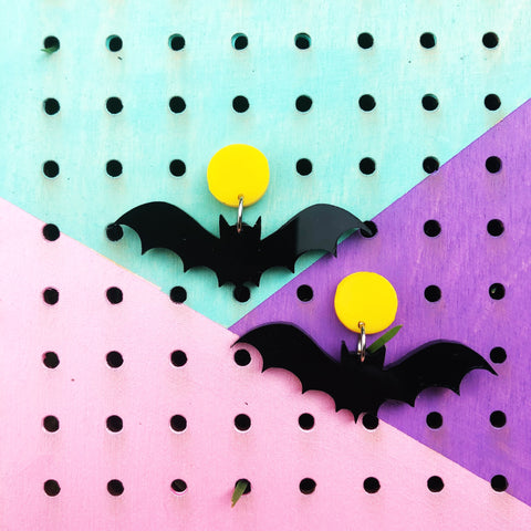 Bat Dangle Earrings Black