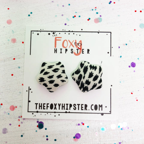 Black and White Star fabric button  Stud Earrings