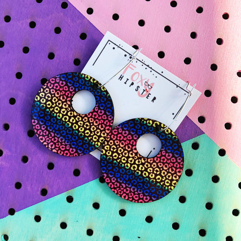 Rainbow Nostalgia Leopard Dangle Hoop Earrings