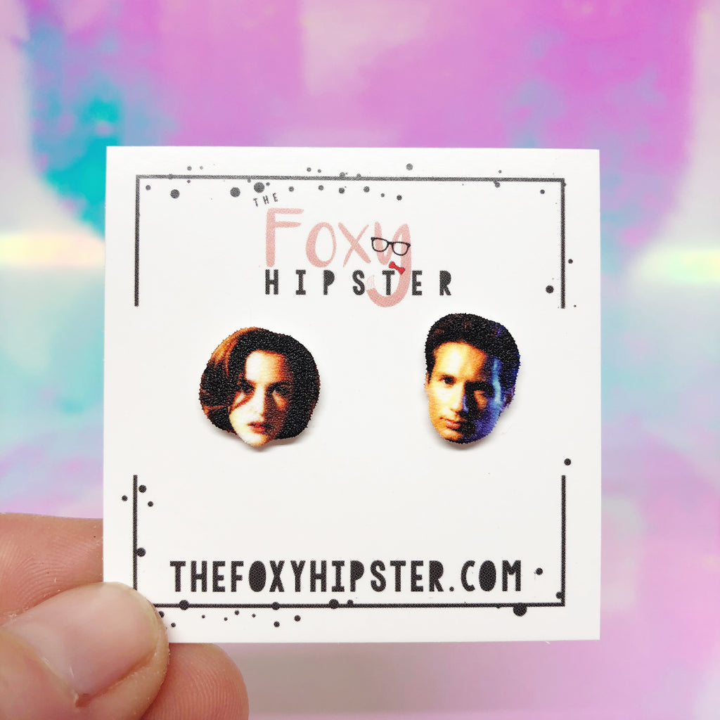 X Files Scully and Mulder Stud Earrings