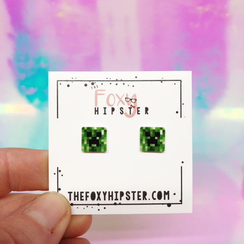 Creeper Minecraft Stud Earrings