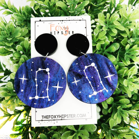 GEMINI Astrology Zodiac Constellation Dangle Drop Earrings