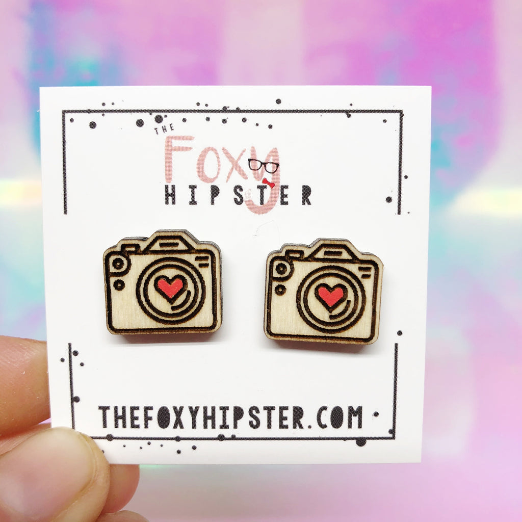 Camera Wooden Stud Earrings