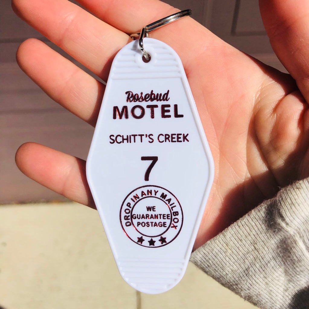 Rosebud Motel White Keychain Schitts Creek