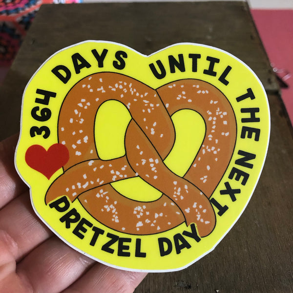 Pretzel Day Countdown Vinyl Sticker