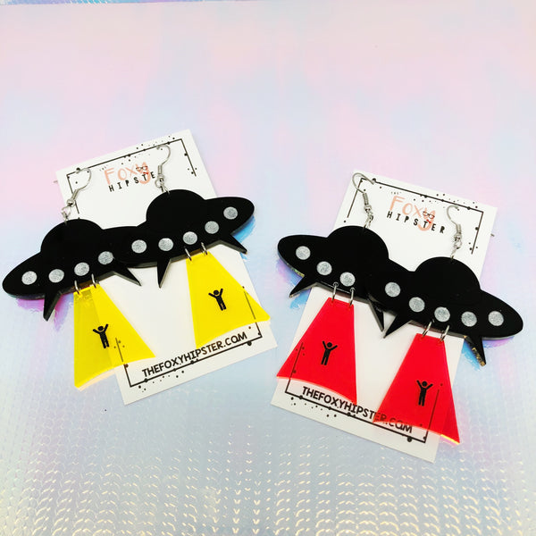 UFO Take Me Dangle Earrings Fluorescent Yellow