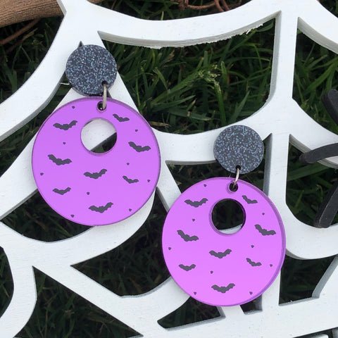 Circle Bat Silhouette Dangle Earrings Purple Mirror