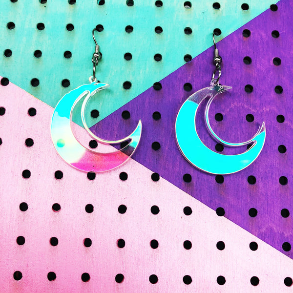 Crescent Moon Iridescent Dangle Earrings