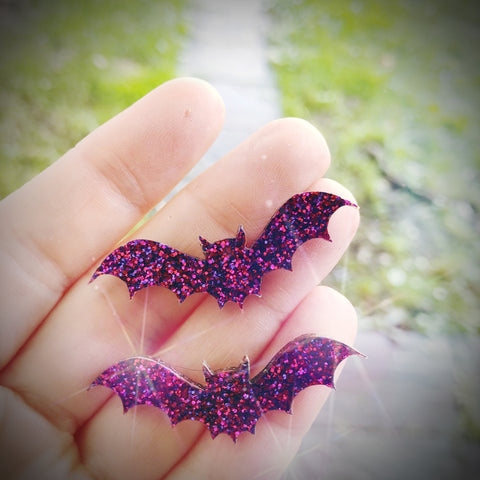 Purple Glitter Bat Stud Earrings
