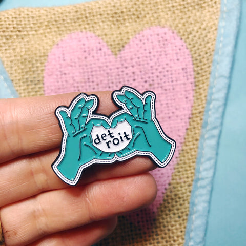 Heart Hands Detroit Enamel Pin