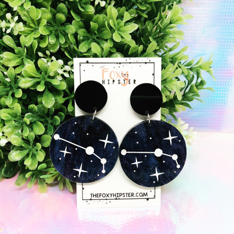 ARIES Astrology Zodiac Constellation Dangle Drop Earrings