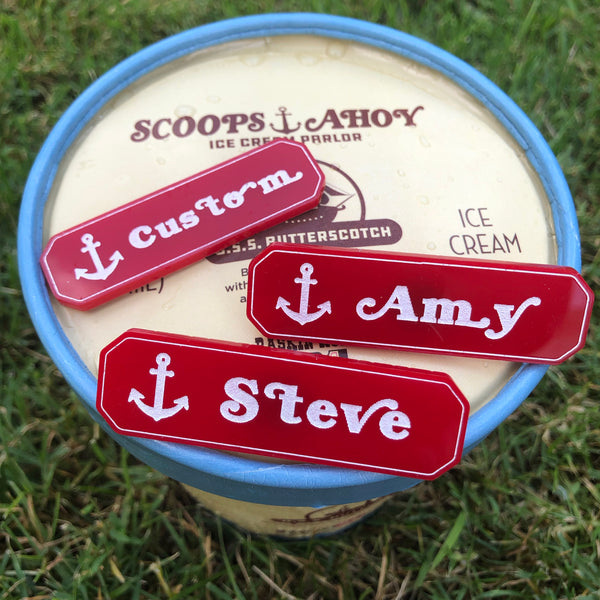 Custom Scoops Ahoy Name Tag Stranger Things Pin