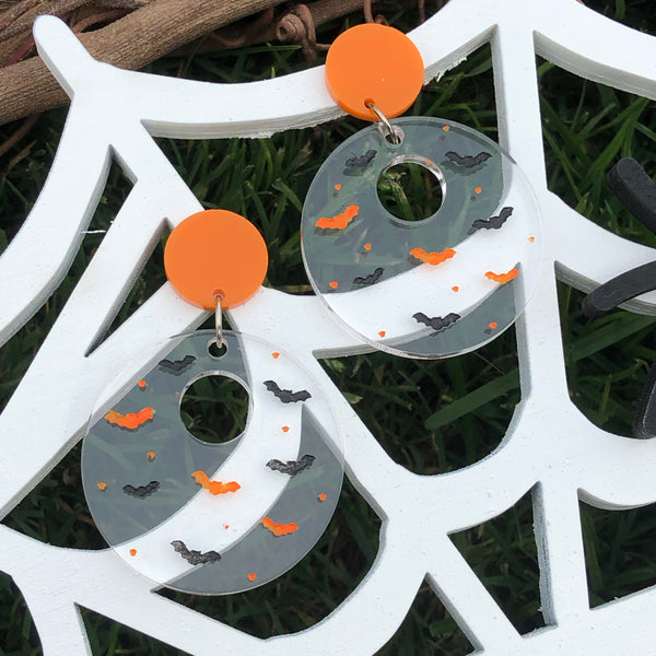Circle Bat Silhouette Dangle Earrings Clear with Black and Orange