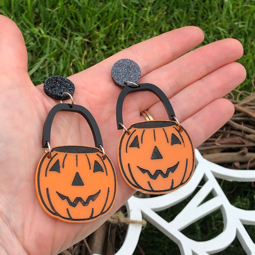 Halloween Bucket Pumpkin Dangle Earrings