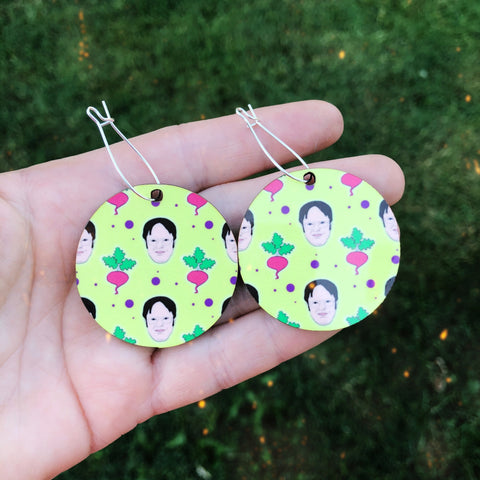 Dwight Schrute and a Beet Pattern Dangle Hoop Earrings