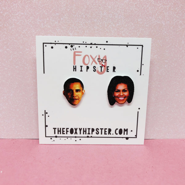 Michelle and Barack Obama Stud Earrings