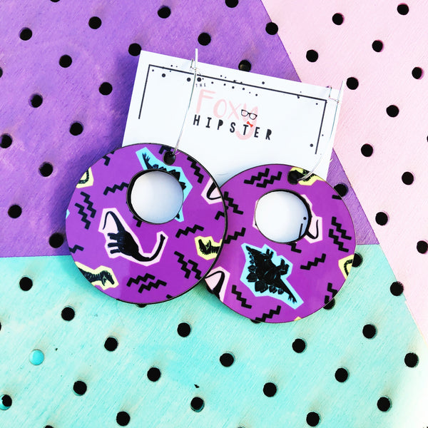 Purple 90s Dinosaur Pattern Dangle Hoop Earrings 80s