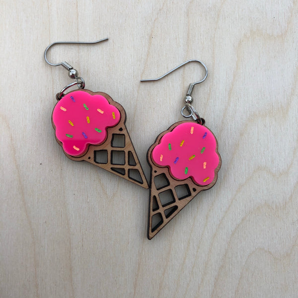 Hot Pink Ice Cream Cone Fish Hook Dangle Earrings