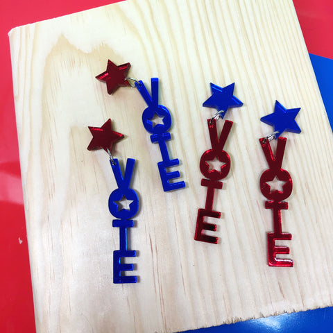 Vote Dangle Earrings Acrylic Mirror