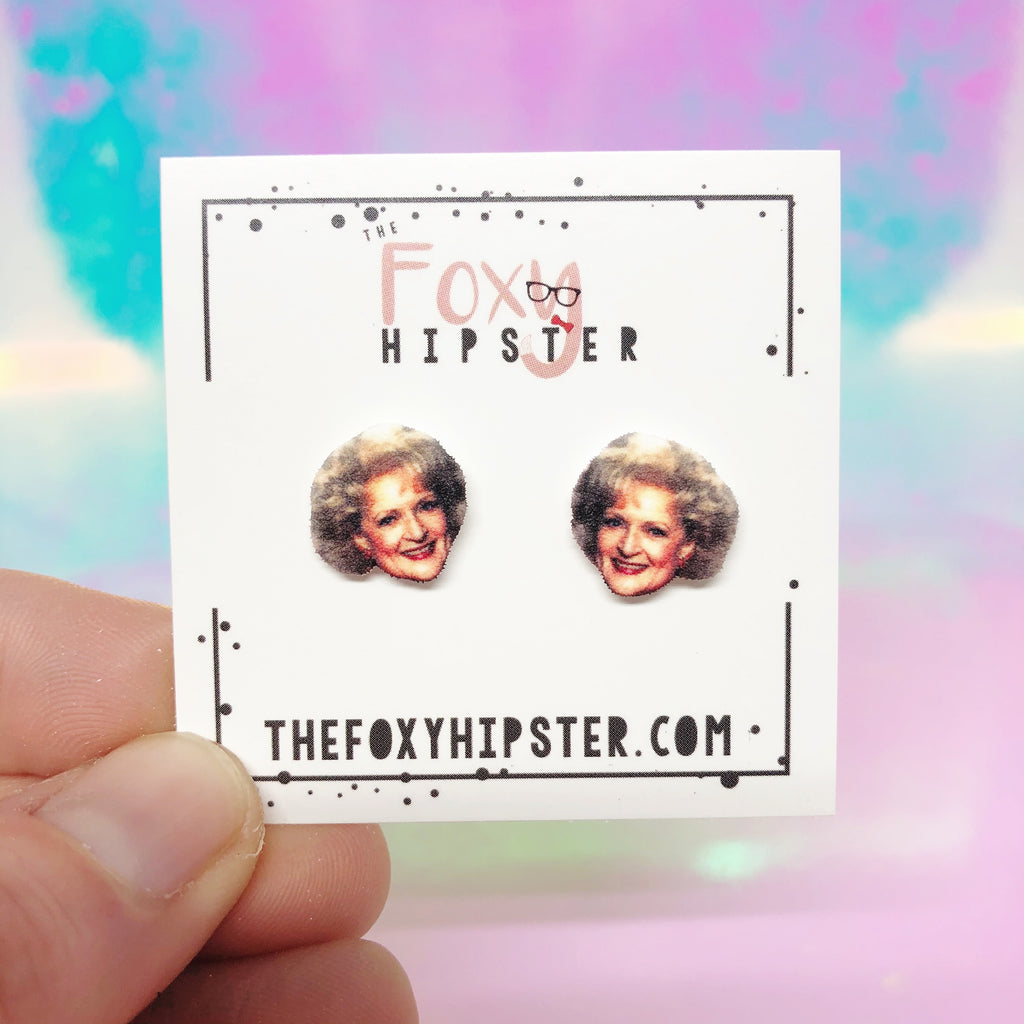Betty White Inspired Stud Earrings