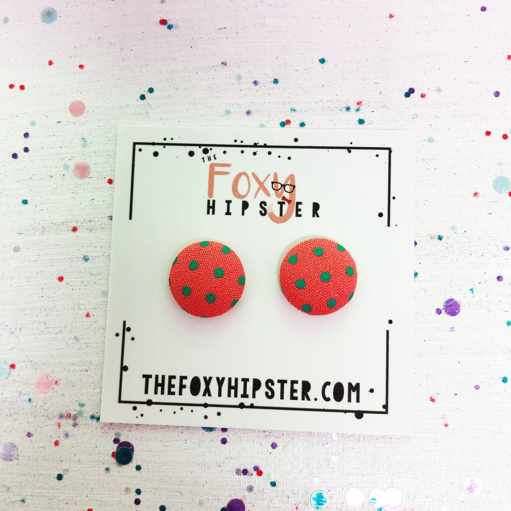 Salmon with teal polka dots fabric button  Stud Earrings