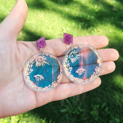 Full Moon Iridescent Dangle Earrings
