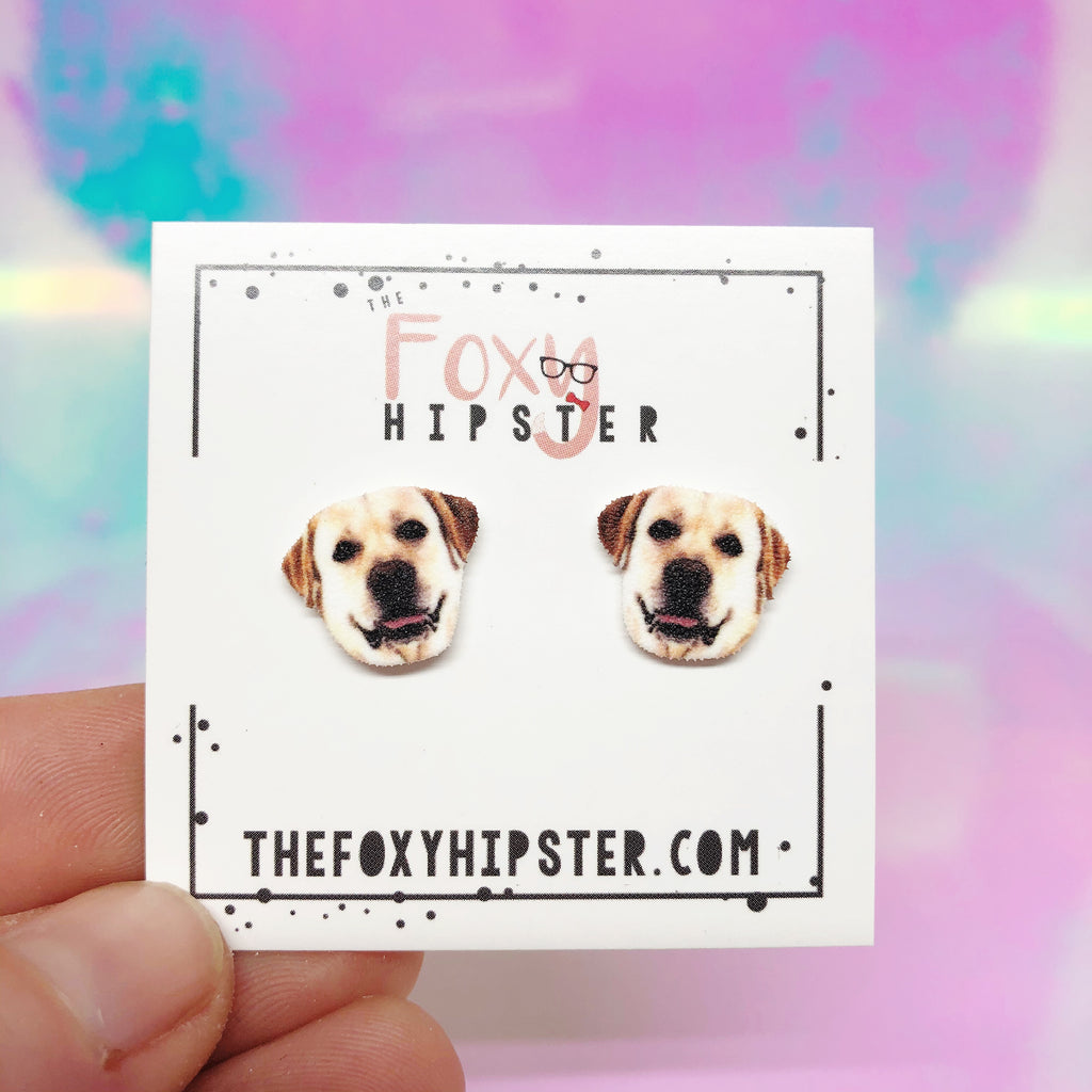 Yellow Labrador Dog Breed Stud Earrings