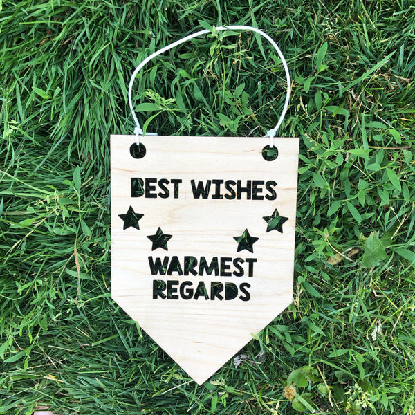Best Wishes Warmest Regards Wooden Wall Hanging Banner Schitts Creek Quote