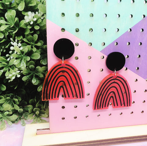 Fluorescent Pink Black Rainbow Dangle Drop Earrings