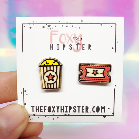 Movie Popcorn and Ticket Wooden Stud Earrings