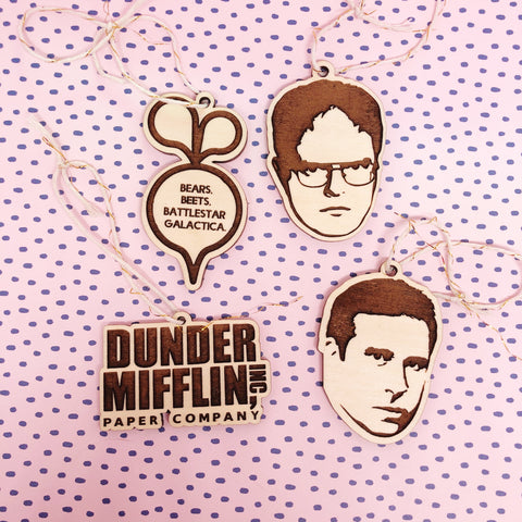 Set of 4 The Office Ornament Michael Scott Dunder Mifflin Dwight Schrute Bears Beets Battlestar Galactica