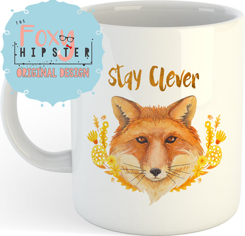 Stay Clever Fox Coffee 11oz coffee mug