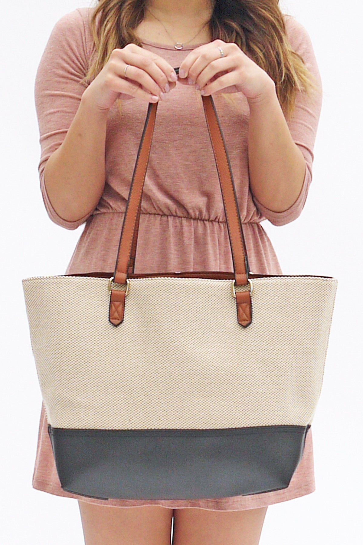 99f056b471 Adele Two Tone Woven Tote with Clutch - A Few Things We Love - 1 ...