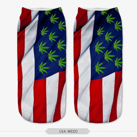 USA Flag Marijuana Leaf Emoji Weed Socks 3D Print