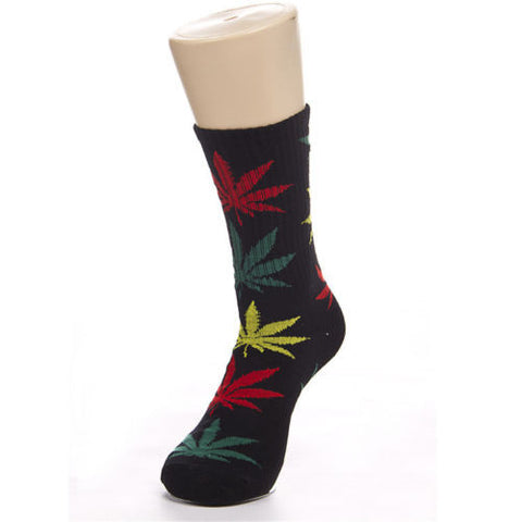 Weed Leaf Socks Black/Orange/Green